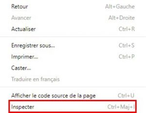 inspection des elements avec google chrome