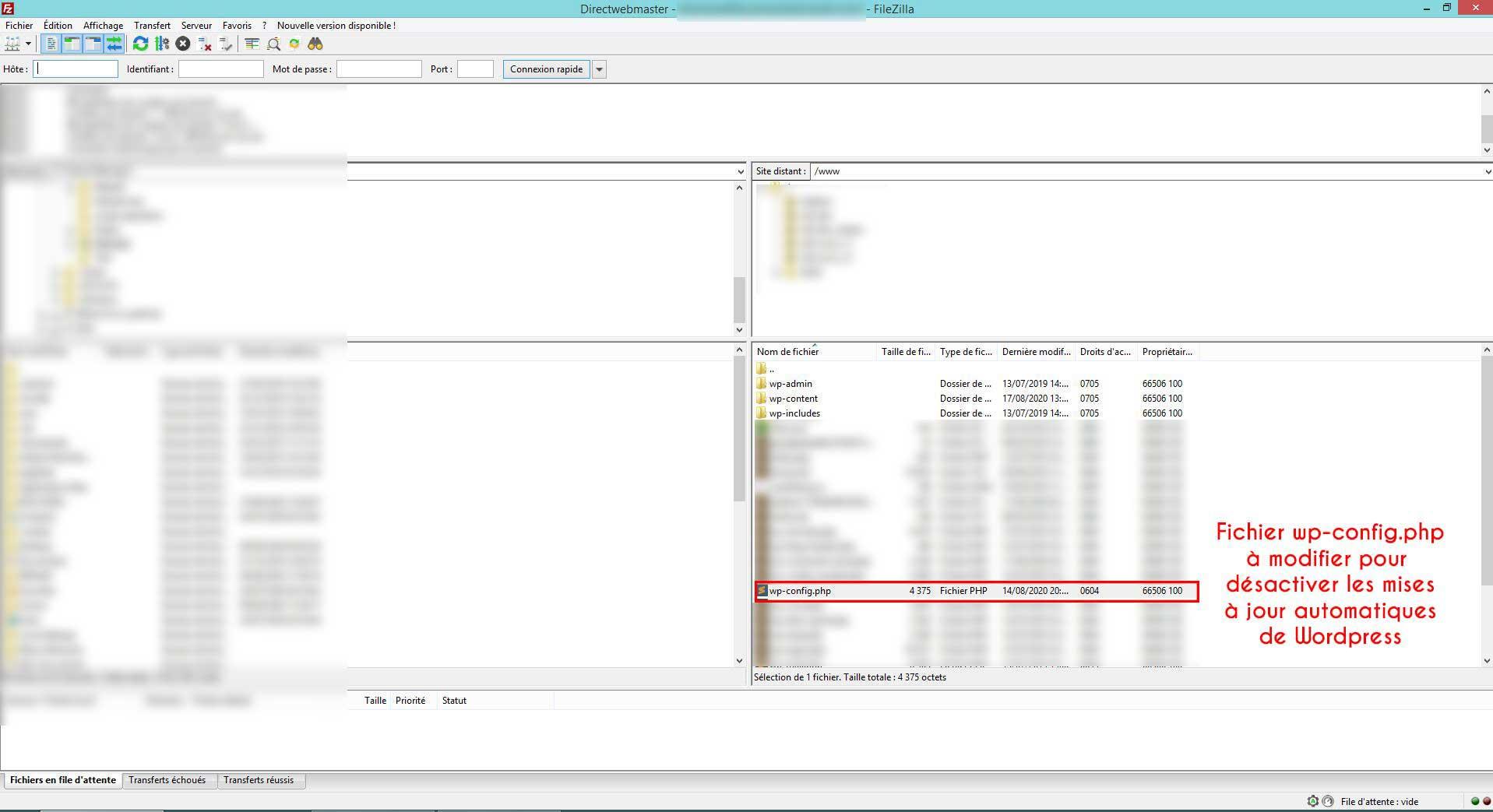desactiver les mises a jour automatiques du cms wordpress